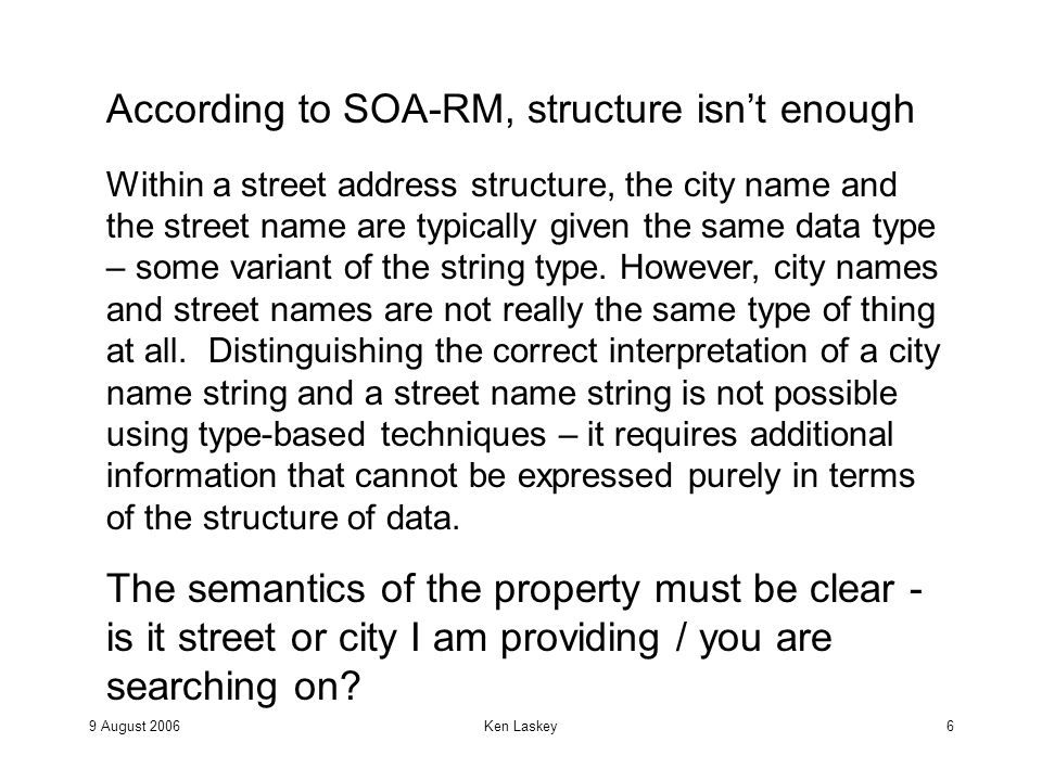 9 August 2006Ken Laskey7 Again from SOA-RM, There is often a huge potential for variability in representing street addresses.