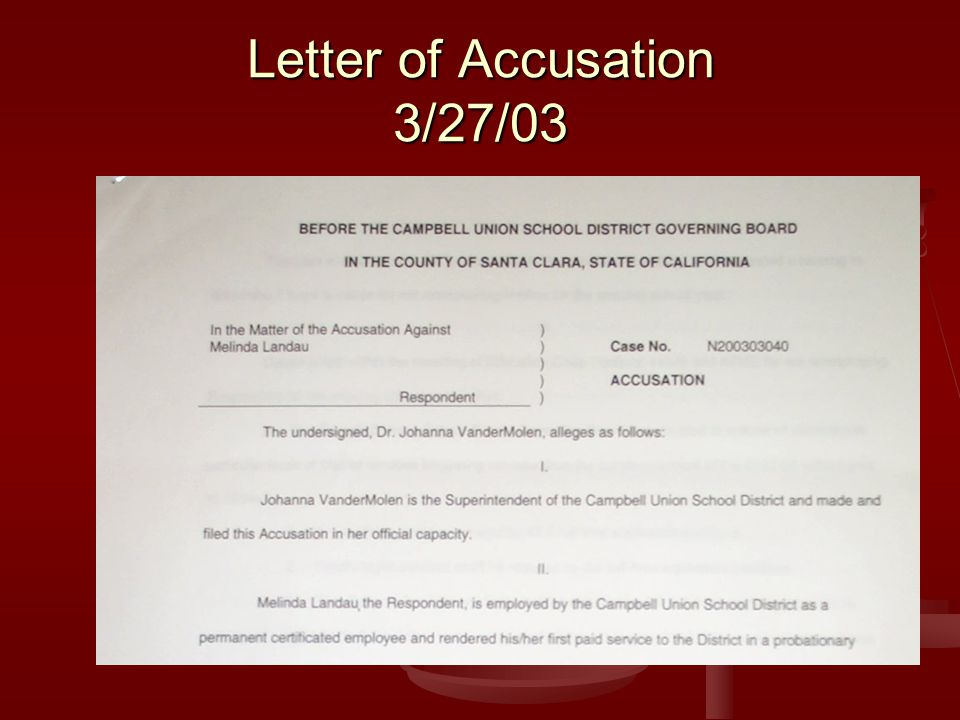 Letter of Accusation 3/27/03