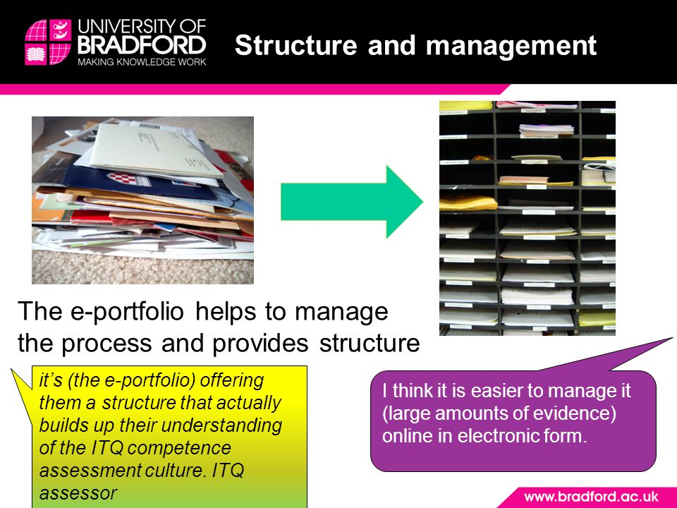 Structure and management The e-portfolio helps to manage the process and provides structure it's (the e-portfolio) offering them a structure that actually builds up their understanding of the ITQ competence assessment culture.