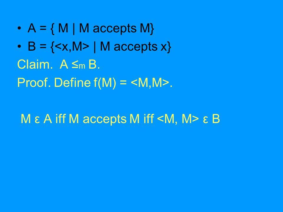 A = { M | M accepts M} B = { | M accepts x} Claim.