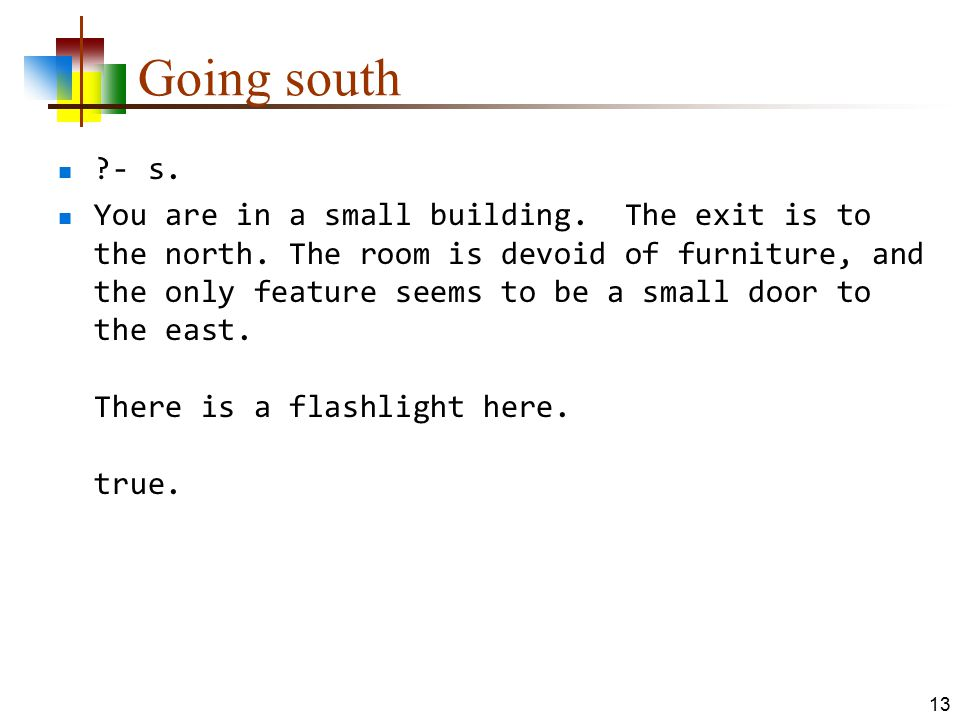 Going south ?- s. You are in a small building. The exit is to the north. The room is devoid of furniture, and the only feature seems to be a small doo