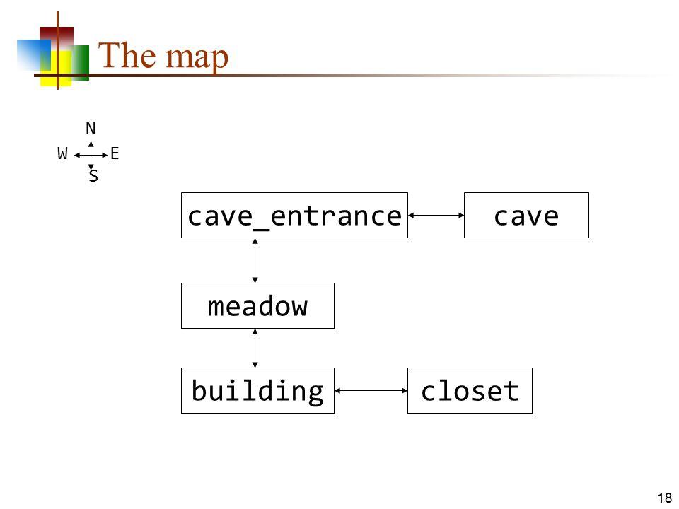 The map cave_entrancecave meadow buildingcloset N W E S 18