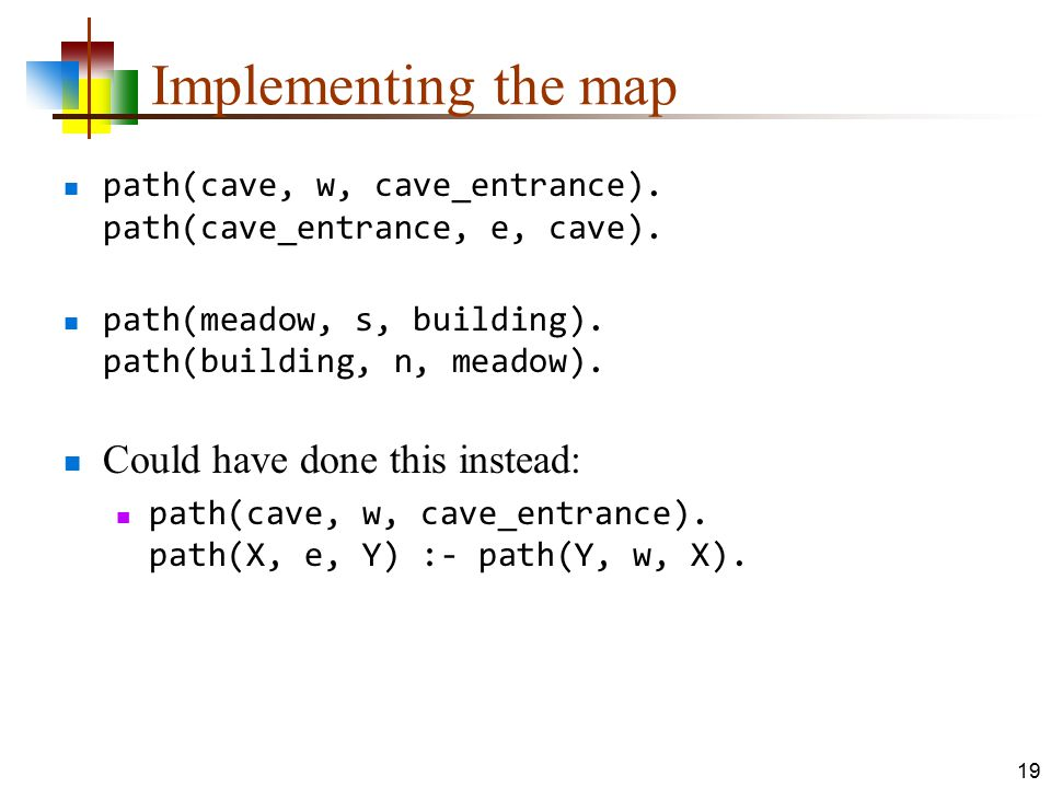 Implementing the map path(cave, w, cave_entrance). path(cave_entrance, e, cave). path(meadow, s, building). path(building, n, meadow). Could have done