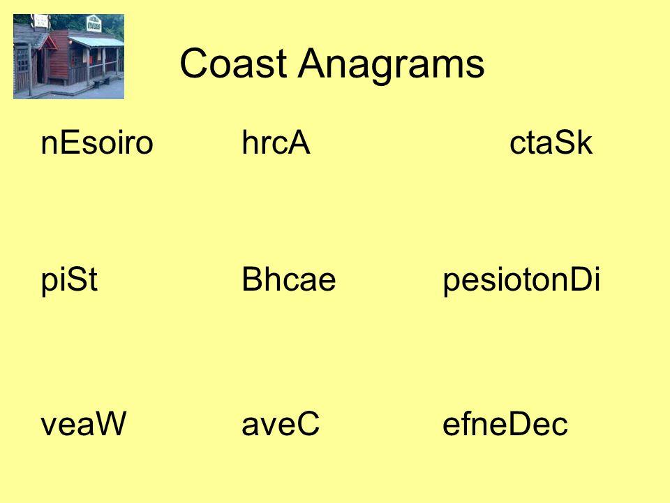 Coast Anagrams nEsoirohrcActaSk piStBhcaepesiotonDi veaWaveCefneDec