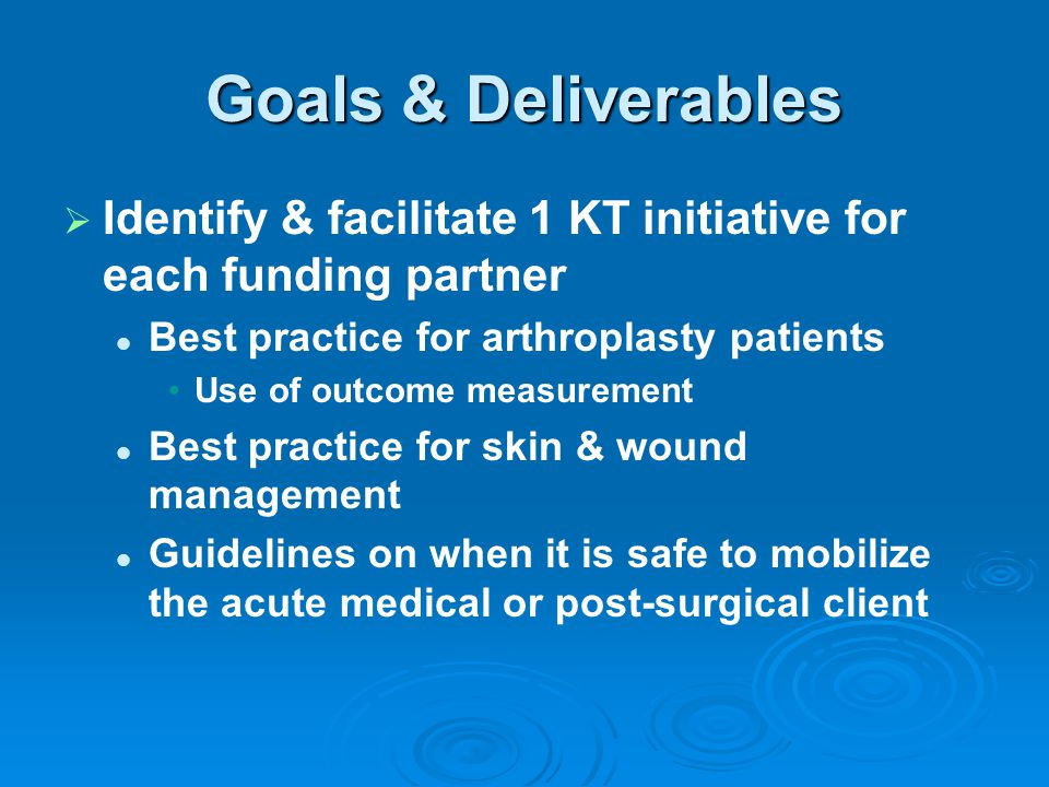 Goals & Deliverables   Identify & facilitate 1 KT initiative for each funding partner Best practice for arthroplasty patients Use of outcome measure