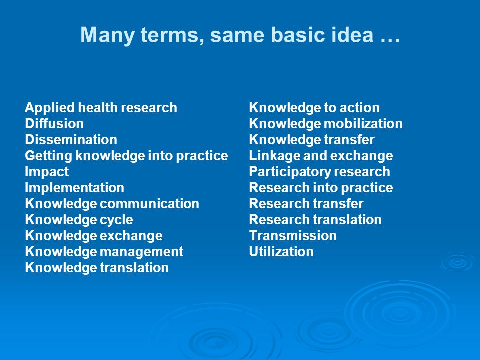 Many terms, same basic idea … Applied health research Diffusion Dissemination Getting knowledge into practice Impact Implementation Knowledge communic
