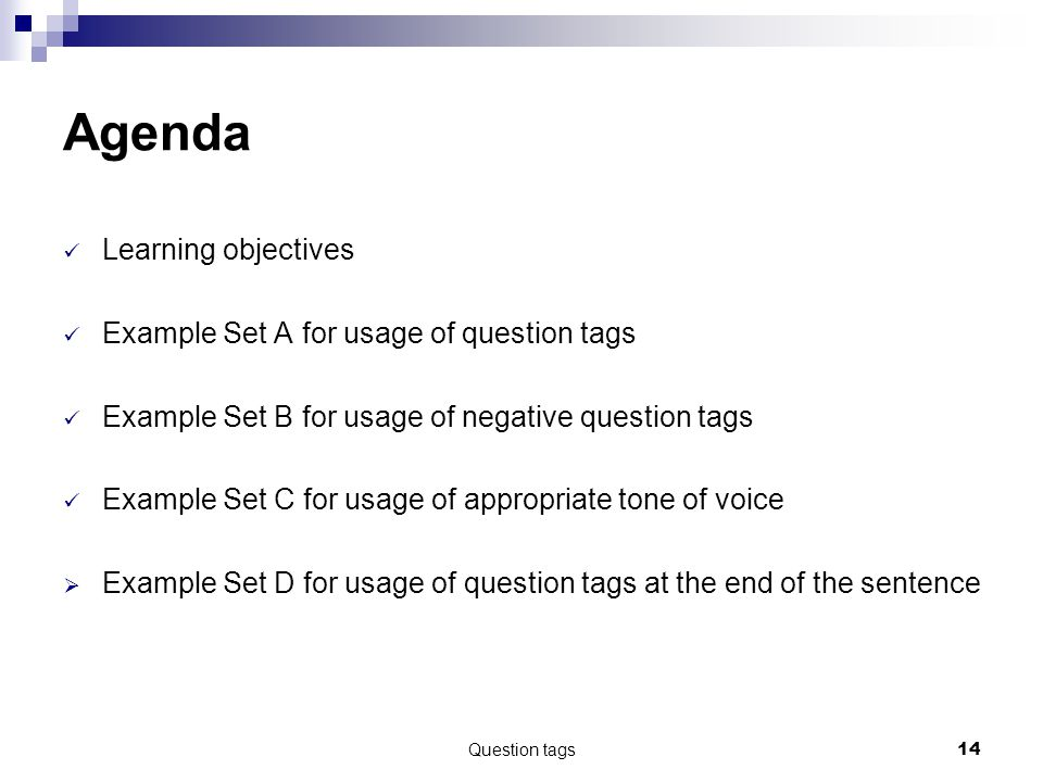 Question tags14 Agenda Learning objectives Example Set A for usage of question tags Example Set B for usage of negative question tags Example Set C for usage of appropriate tone of voice  Example Set D for usage of question tags at the end of the sentence