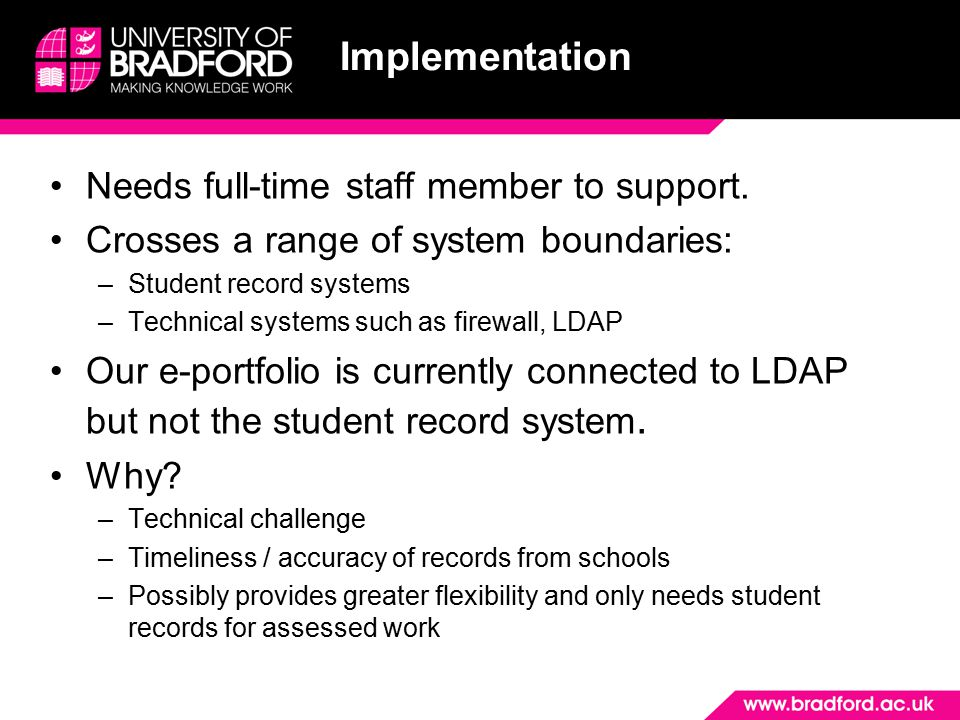 Implementation Needs full-time staff member to support.