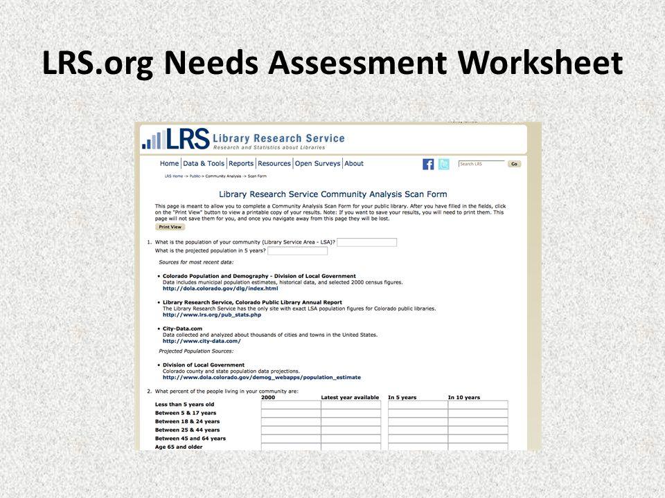 LRS.org Needs Assessment Worksheet