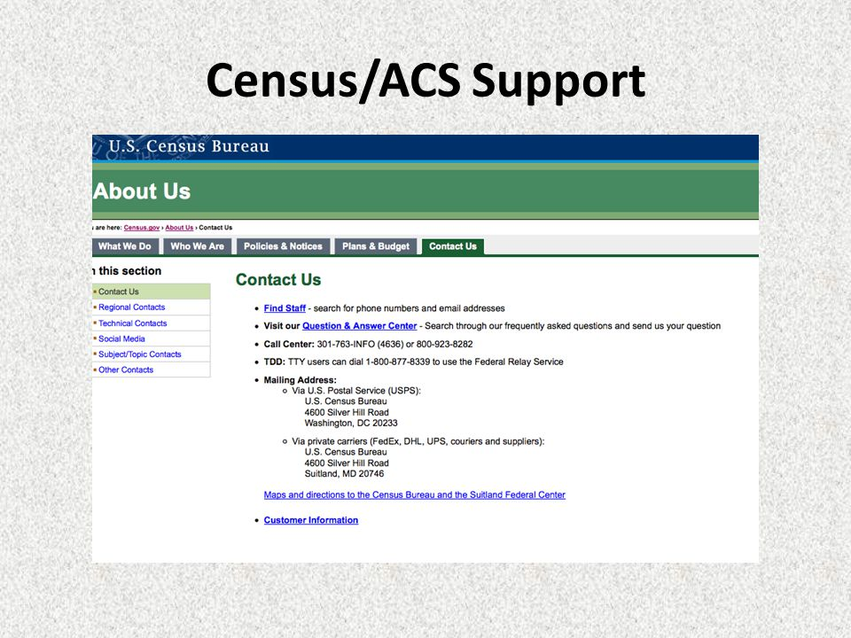 Census/ACS Support
