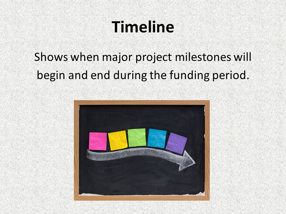 Timeline Shows when major project milestones will begin and end during the funding period.