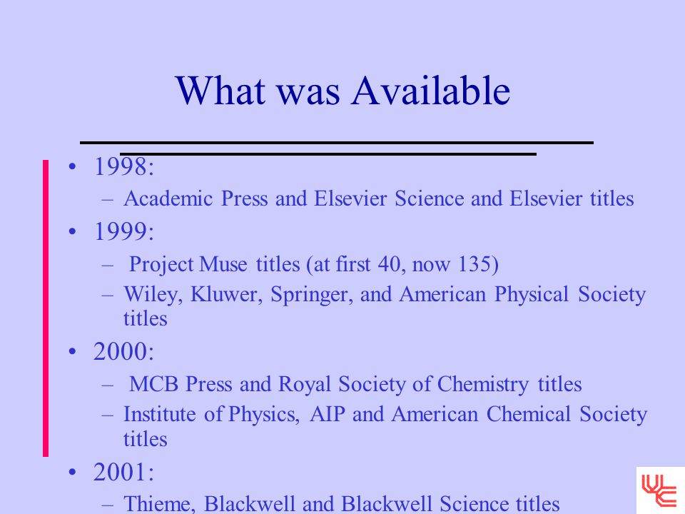 What was Available 1998: –Academic Press and Elsevier Science and Elsevier titles 1999: – Project Muse titles (at first 40, now 135) –Wiley, Kluwer, Springer, and American Physical Society titles 2000: – MCB Press and Royal Society of Chemistry titles –Institute of Physics, AIP and American Chemical Society titles 2001: –Thieme, Blackwell and Blackwell Science titles
