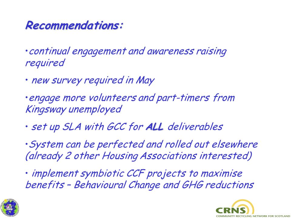 Recommendations: continual engagement and awareness raising required new survey required in May engage more volunteers and part-timers from Kingsway u