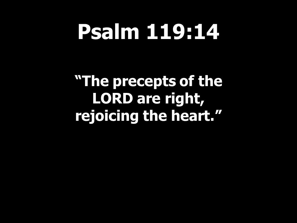 The precepts of the LORD are right, rejoicing the heart. Psalm 119:14