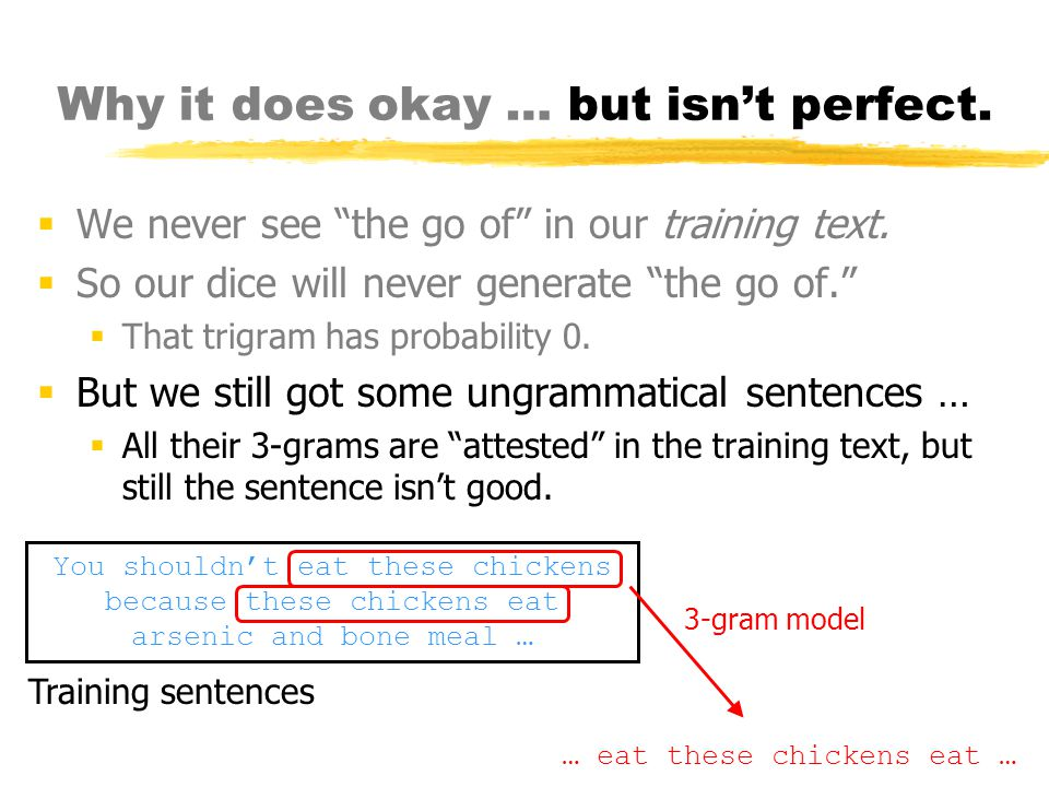 Why it does okay … but isn't perfect.  We never see the go of in our training text.