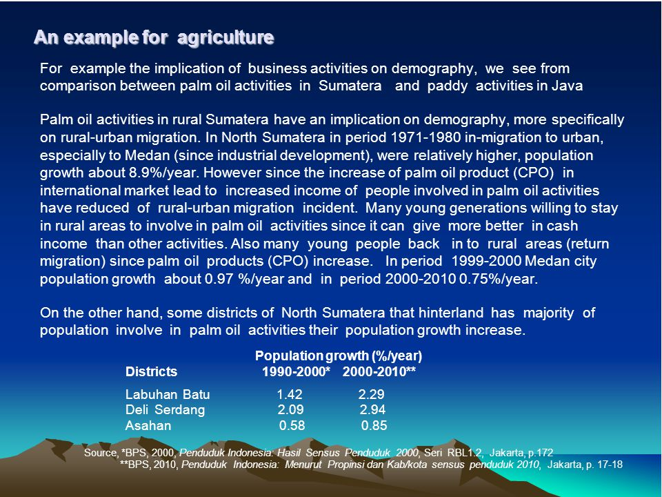 An example for agriculture For example the implication of business activities on demography, we see from comparison between palm oil activities in Sumatera and paddy activities in Java Palm oil activities in rural Sumatera have an implication on demography, more specifically on rural-urban migration.