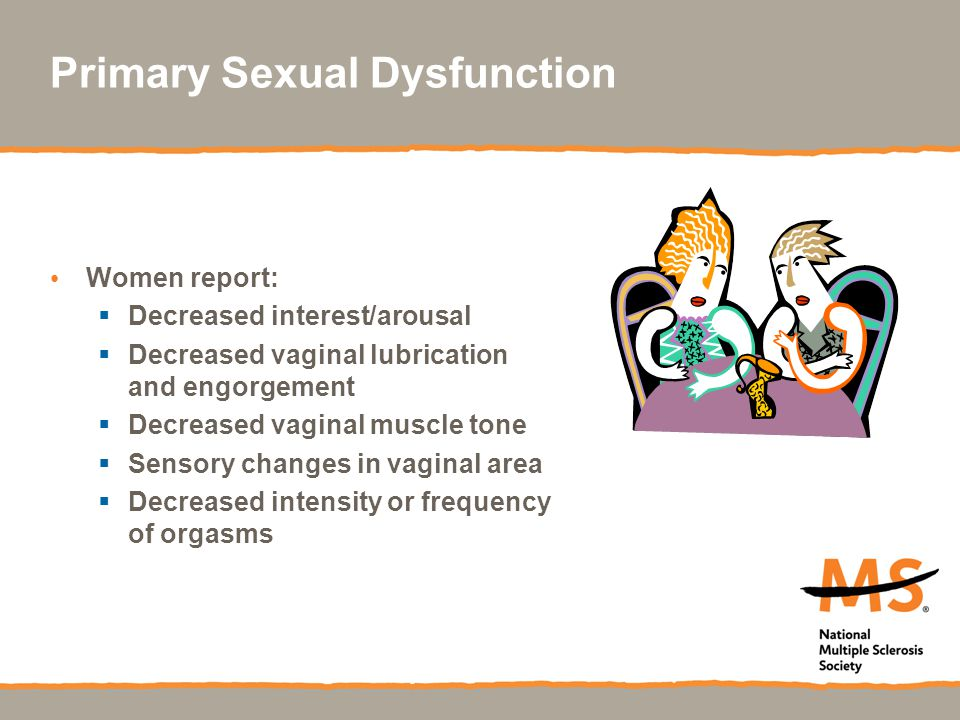 Primary Sexual Dysfunction Women report:  Decreased interest/arousal  Decreased vaginal lubrication and engorgement  Decreased vaginal muscle tone