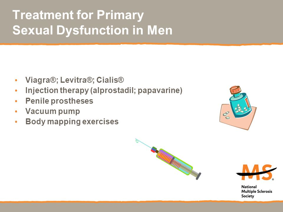 Treatment for Primary Sexual Dysfunction in Men Viagra®; Levitra®; Cialis® Injection therapy (alprostadil; papavarine) Penile prostheses Vacuum pump Body mapping exercises