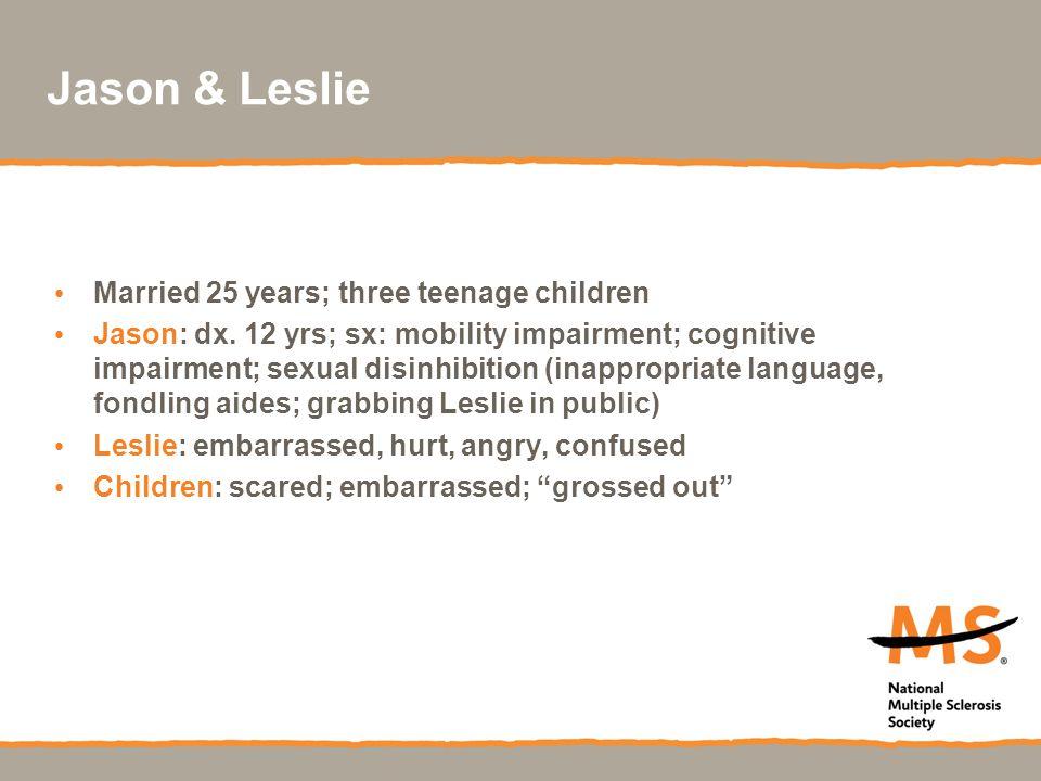 Jason & Leslie Married 25 years; three teenage children Jason: dx.