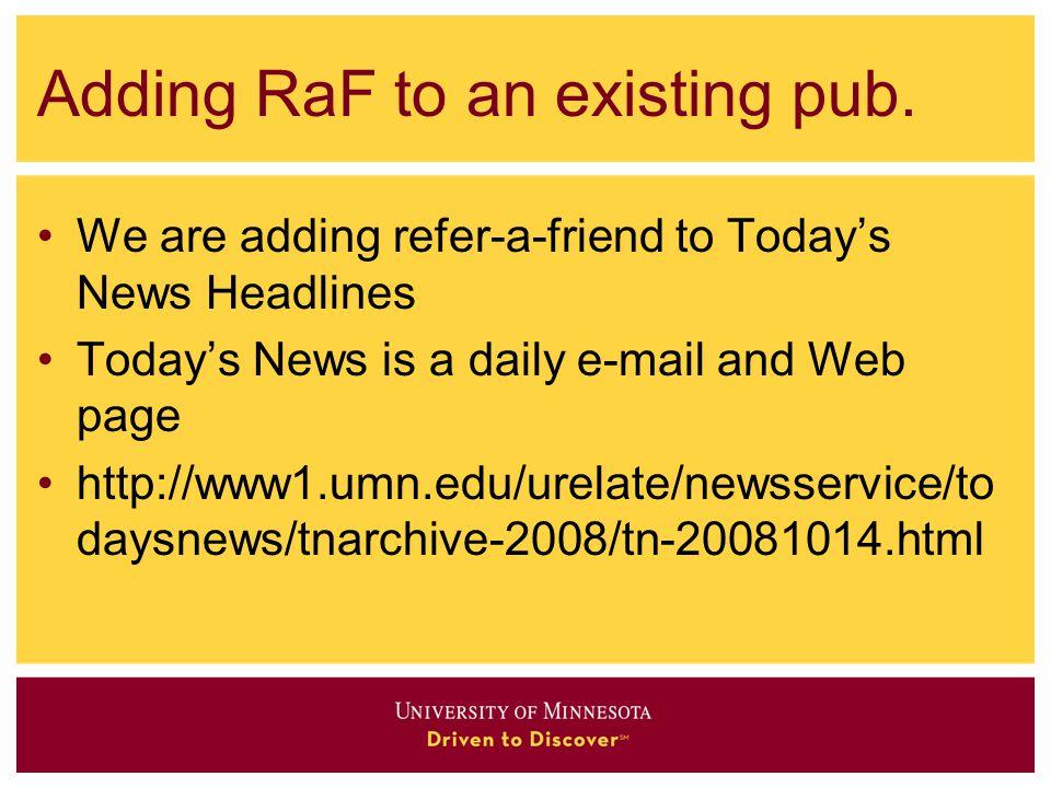 Adding RaF to an existing pub.