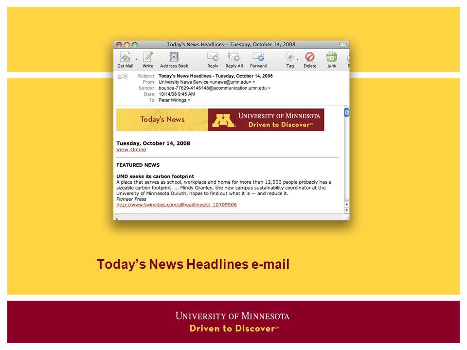 Today's News Headlines e-mail