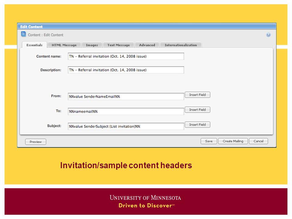Invitation/sample content headers