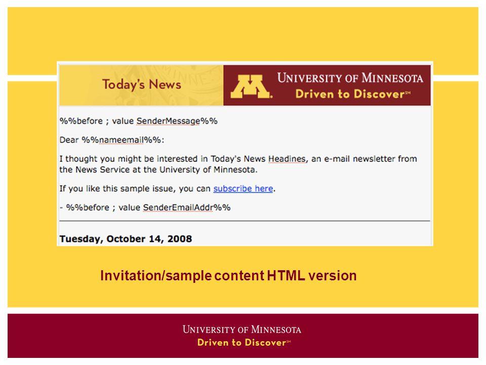 Invitation/sample content HTML version