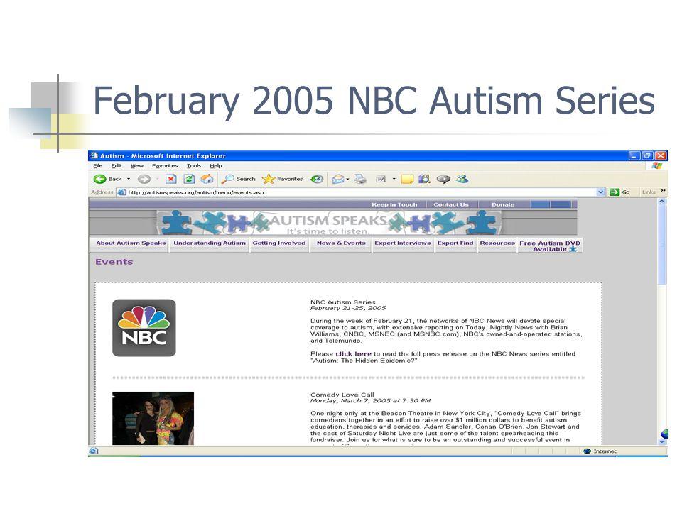 February 2005 NBC Autism Series