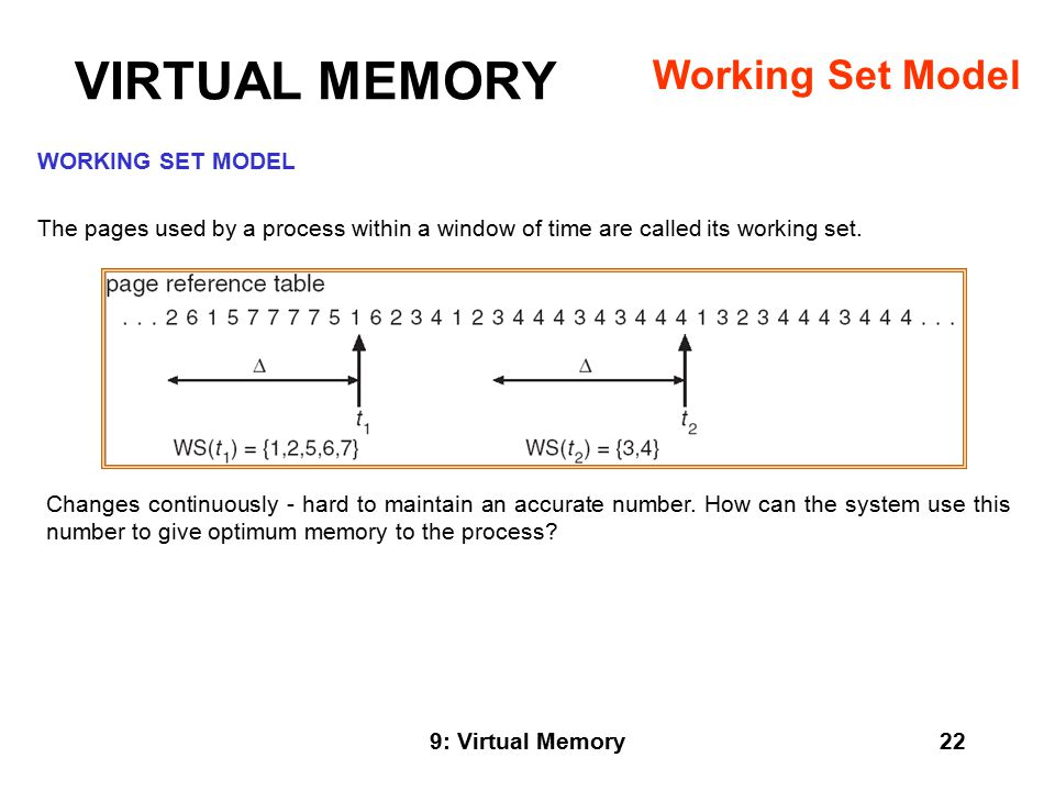9: Virtual Memory22 WORKING SET MODEL The pages used by a process within a window of time are called its working set.