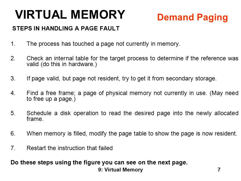 9: Virtual Memory8 VIRTUAL MEMORY Demand Paging