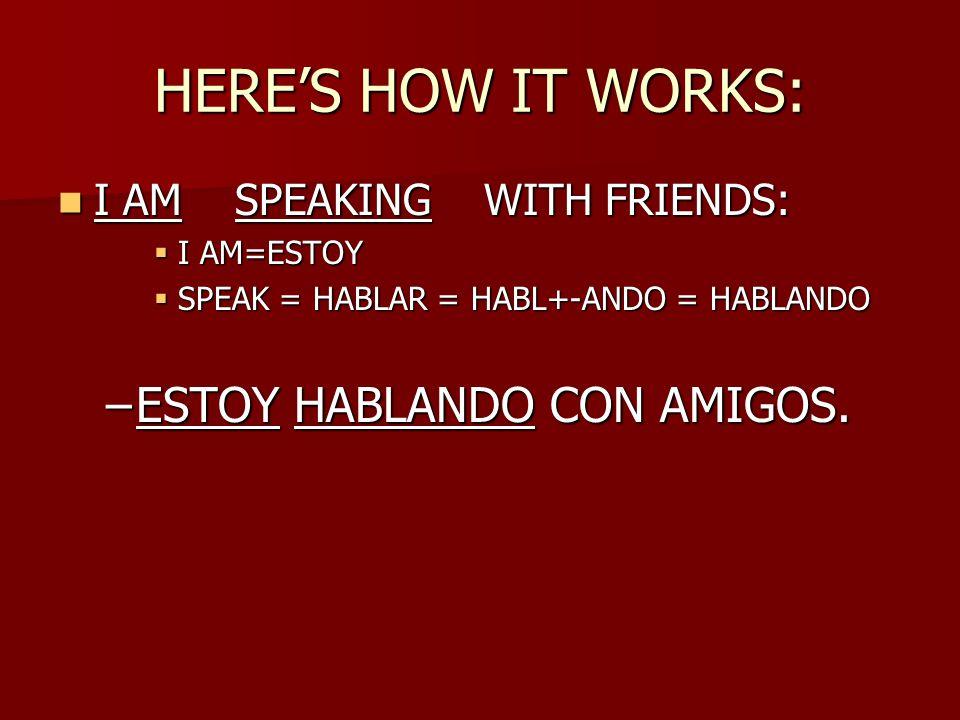 HERE'S HOW IT WORKS: I AM SPEAKING WITH FRIENDS: I AM SPEAKING WITH FRIENDS:  I AM=ESTOY  SPEAK = HABLAR = HABL+-ANDO = HABLANDO –ESTOY HABLANDO CON AMIGOS.