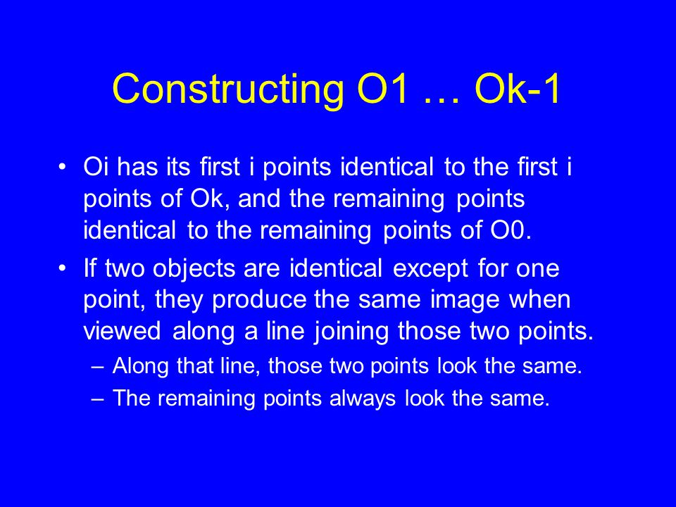 Constructing O1 … Ok-1 Oi has its first i points identical to the first i points of Ok, and the remaining points identical to the remaining points of O0.
