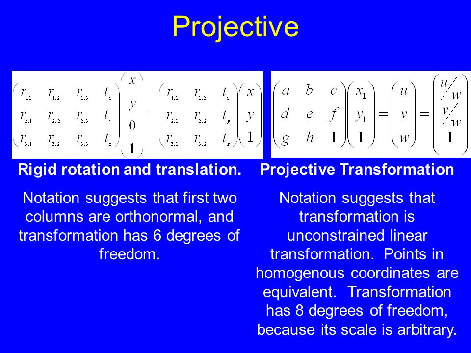 Projective Rigid rotation and translation. Notation suggests that first two columns are orthonormal, and transformation has 6 degrees of freedom. Proj