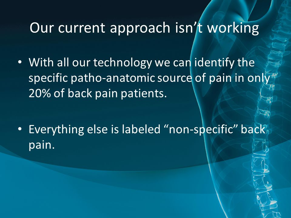 Our current approach isn't working With all our technology we can identify the specific patho-anatomic source of pain in only 20% of back pain patient