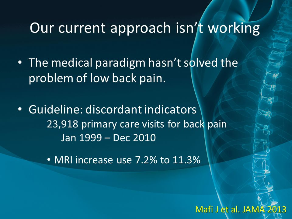 Our current approach isn't working The medical paradigm hasn't solved the problem of low back pain. Guideline: discordant indicators 23,918 primary ca