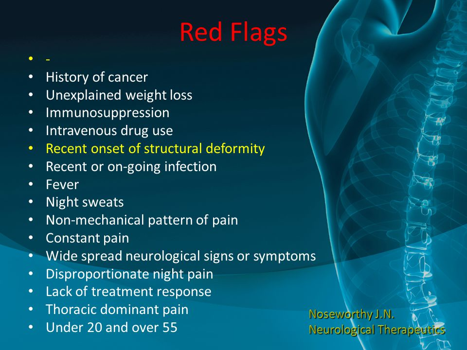Red Flags - History of cancer Unexplained weight loss Immunosuppression Intravenous drug use Recent onset of structural deformity Recent or on-going infection Fever Night sweats Non-mechanical pattern of pain Constant pain Wide spread neurological signs or symptoms Disproportionate night pain Lack of treatment response Thoracic dominant pain Under 20 and over 55