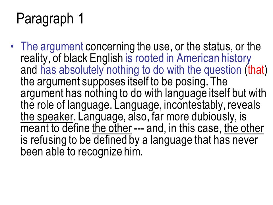 Paragraph 1 The argument concerning the use, or the status, or the reality, of black English is rooted in American history and has absolutely nothing