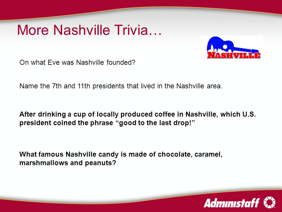 More Nashville Trivia… Name the 7th and 11th presidents that lived in the Nashville area.