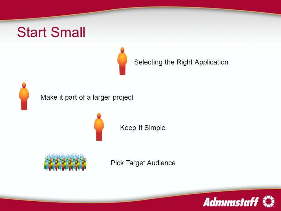 Start Small Selecting the Right Application Make it part of a larger project Keep It Simple Pick Target Audience