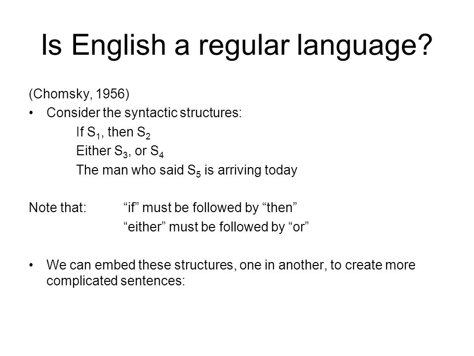 Is English a regular language.