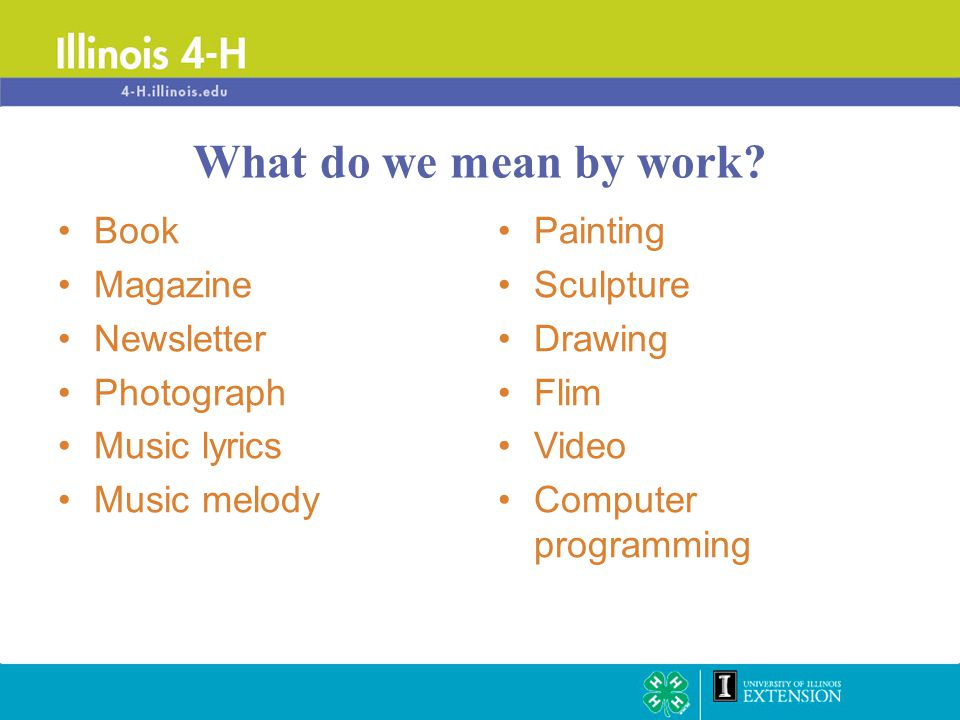 Book Magazine Newsletter Photograph Music lyrics Music melody Painting Sculpture Drawing Flim Video Computer programming What do we mean by work?
