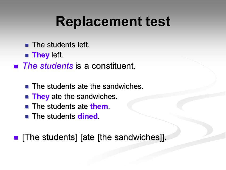 Sentence fragment test Generally, only constituents can be used in the fragmentary response to a question.