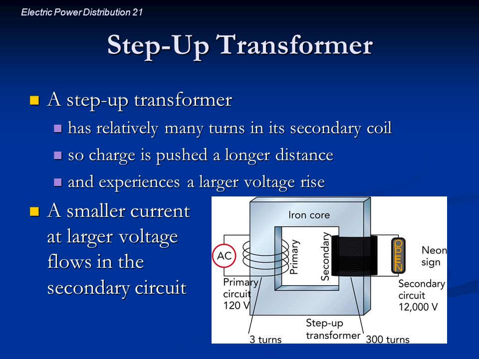 Electric Power Distribution 21 Step-Up Transformer A step-up transformer A step-up transformer has relatively many turns in its secondary coil has rel