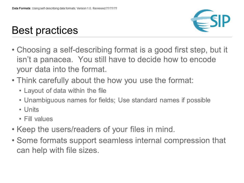 Data Formats: Using self-describing data formats; Version 1.0, Reviewed / / .