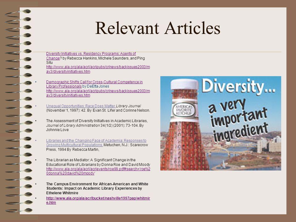 Relevant Articles Diversity Initiatives vs.