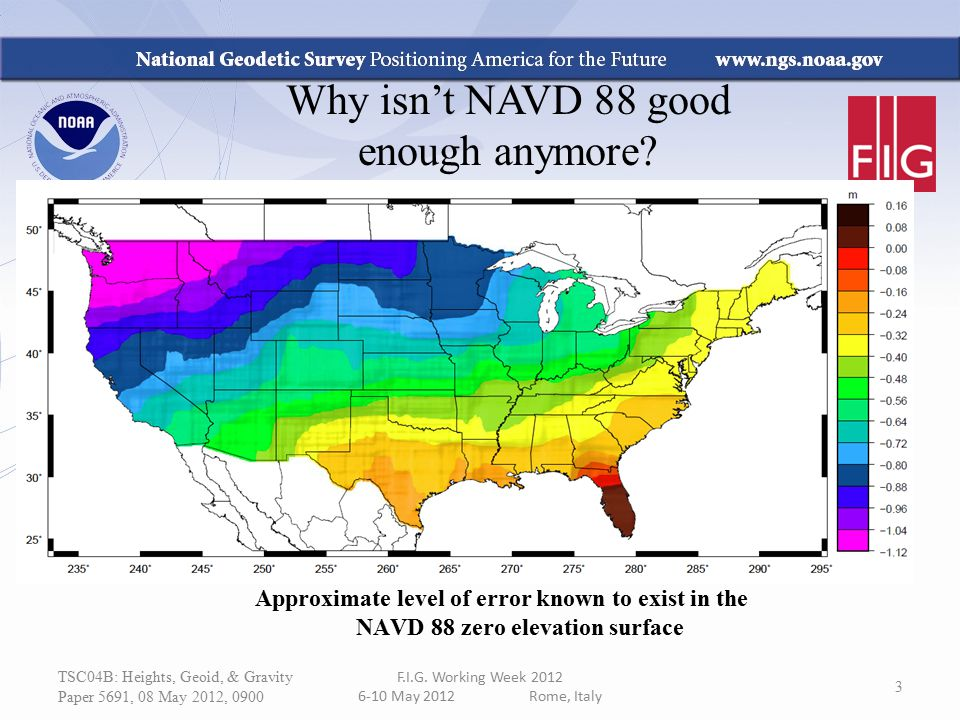 Why isn't NAVD 88 good enough anymore? Approximate level of error known to exist in the NAVD 88 zero elevation surface TSC04B: Heights, Geoid, & Gravi