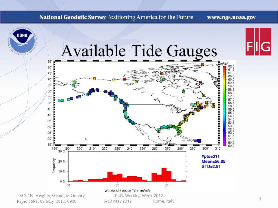 TSC04B: Heights, Geoid, & Gravity Paper 5691, 08 May 2012, 0900 F.I.G. Working Week 2012 6-10 May 2012 Rome, Italy 4 Available Tide Gauges