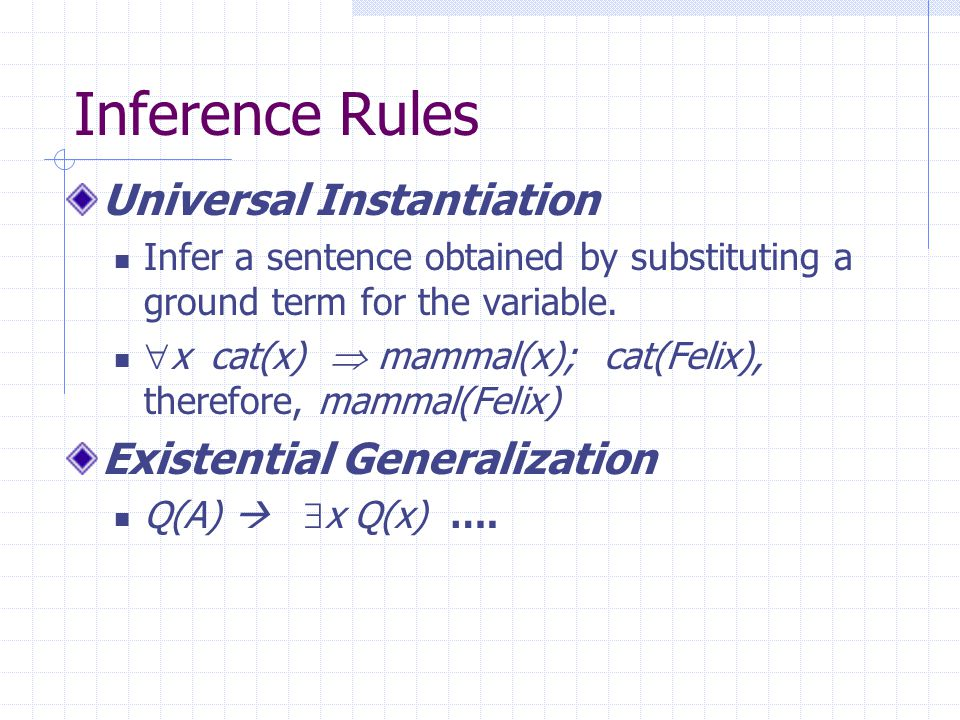 Inference Rules (from Chap 7) Modus ponens And elimination And introduction Or introduction P(x)  Q(x), P(A) Q(A) P(A)  Q(A)  R(A)  S(A)  …….
