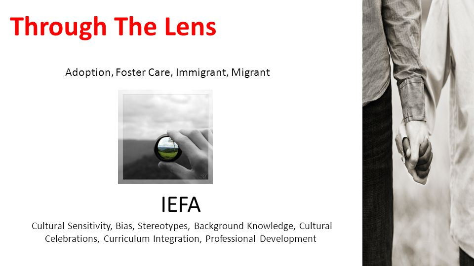 Through The Lens Adoption, Foster Care, Immigrant, Migrant IEFA Cultural Sensitivity, Bias, Stereotypes, Background Knowledge, Cultural Celebrations,