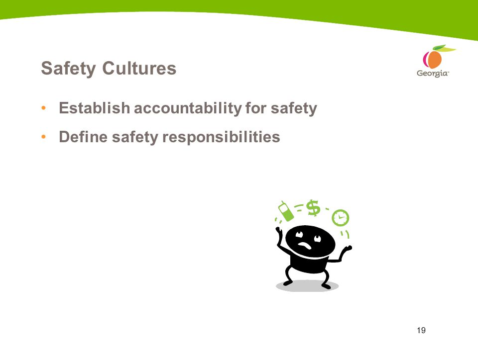 19 Safety Cultures Establish accountability for safety Define safety responsibilities